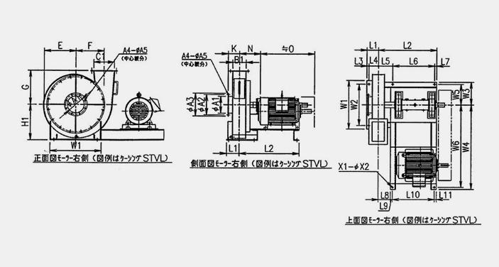 標準ターボブロアファン16型シリーズ ケーシング・モーター右取付 寸法図 (正面図・側面図・上面図)