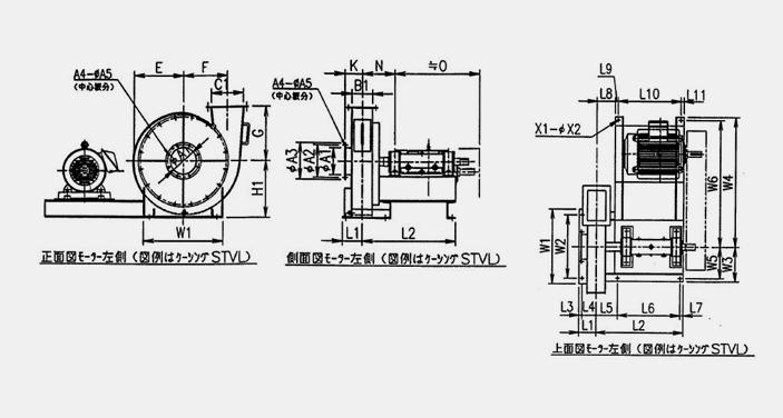 標準ターボブロアファン16型シリーズ ケーシング・モーター左取付 寸法図 (正面図・側面図・上面図)